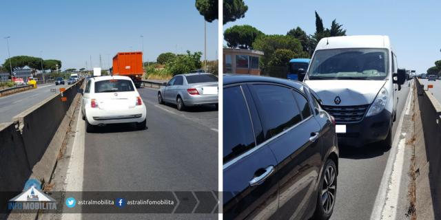 Incidente Pontina, auto ribaltata: un ferito e traffico in tilt