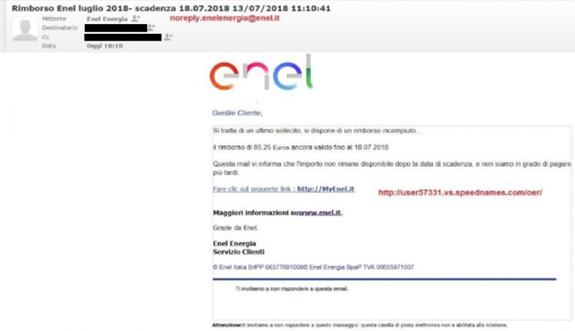 Finte email Enel per rubare dati sensibili