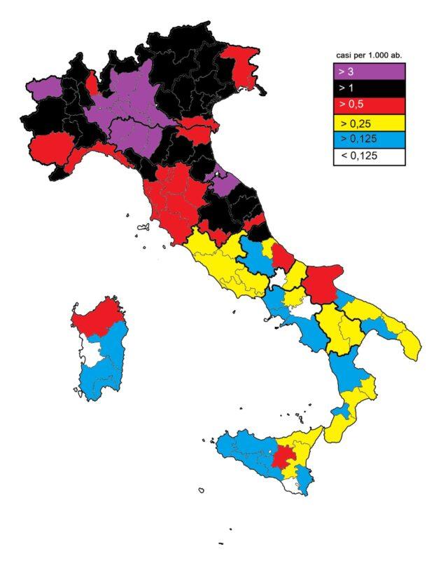 Cartina Italia Con Regioni E Province.Coronavirus La Cartina Del Contagio In Tutte Le Regioni E Province Italiane