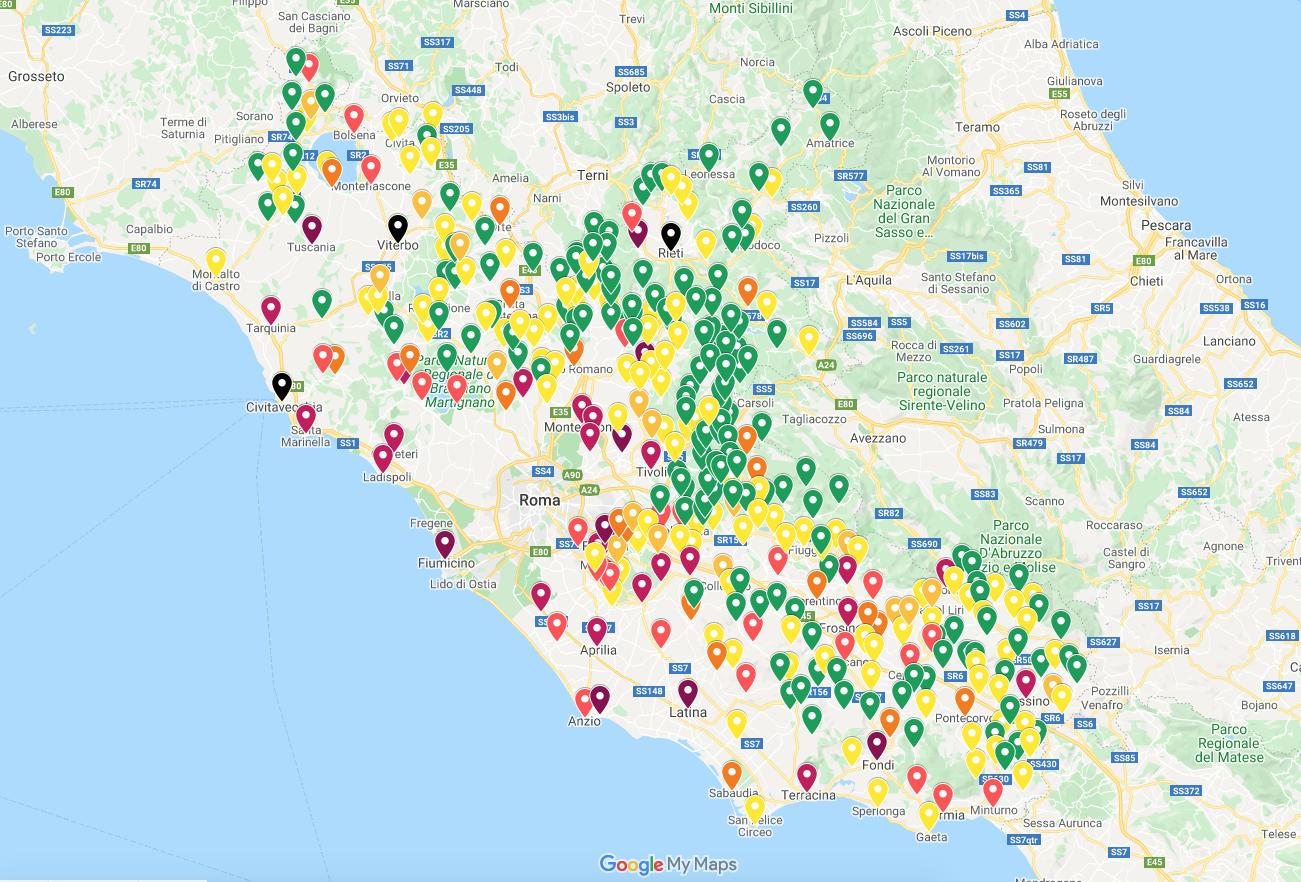 Cartina Roma Ciampino.Coronavirus La Mappa Dei Contagi Ecco La Situazione Comune Per Comune Cerca Il Tuo