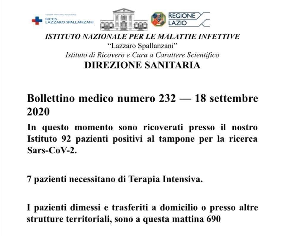 Roma, il bollettino medico dello Spallanzani: 92 positivi ricoverati, 7 in terapia intensiva