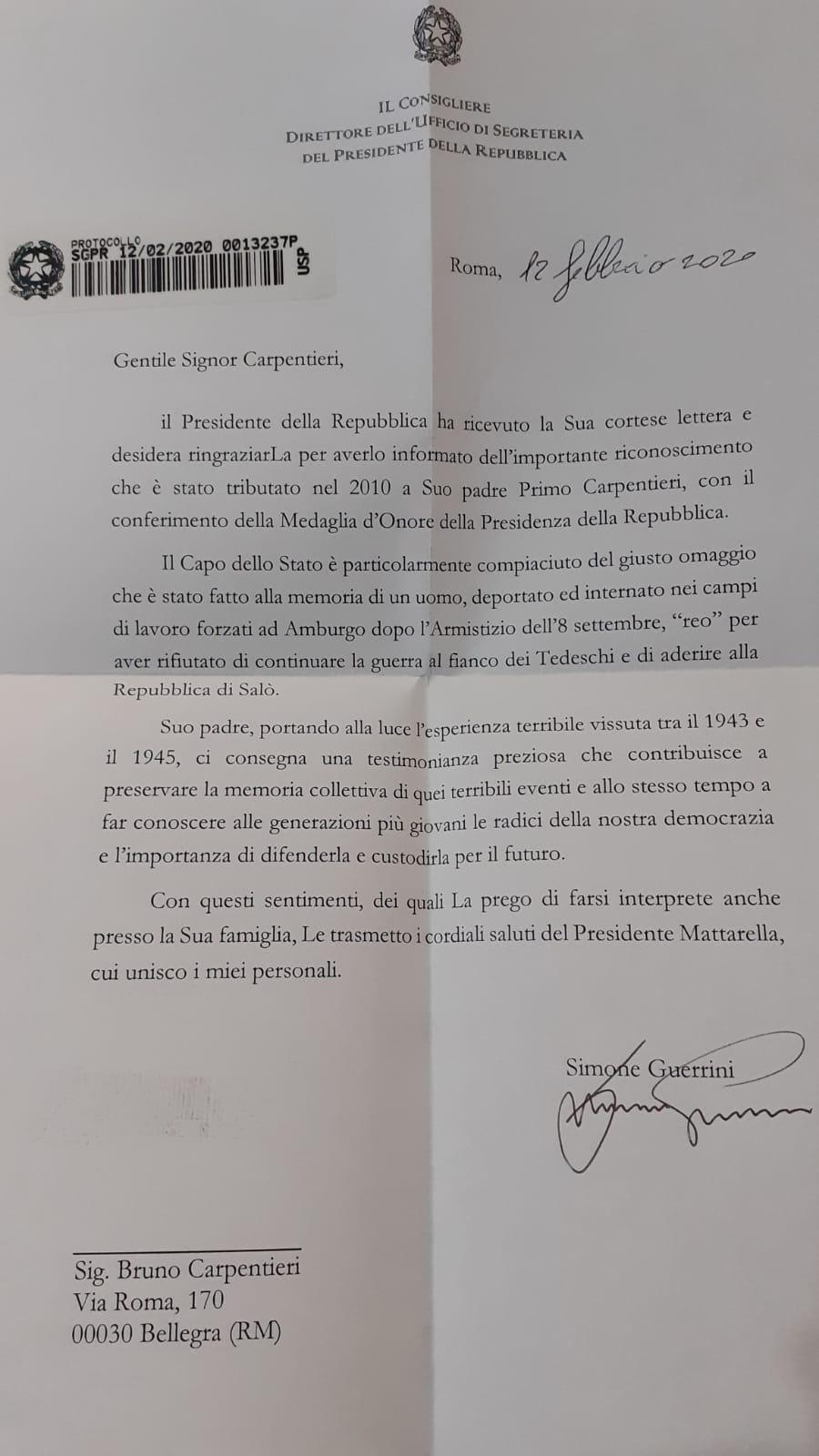 Primo Carpentieri riceve la lettera di encomio dal Presidente Sergio Mattarella