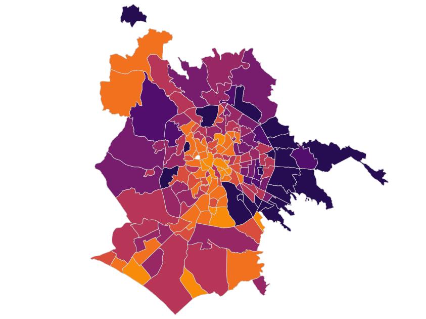 Mappa dei contagi a Roma