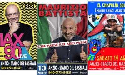 Maurizio Battista, Max Pezzali e Manu Chao ad Anzio