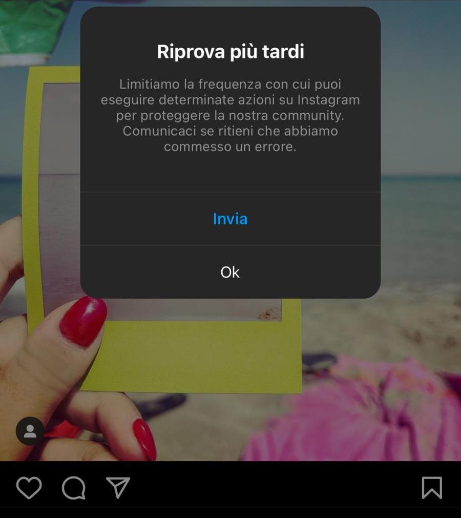 errore instagram riprova più tardi