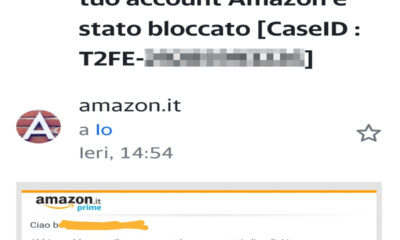 truffa cancellazione account amazon